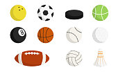 Sport balls set isolated on a white background. Kinds of sports. Simple cartoon design icons. Sport equipment. Flat style vector illustration.