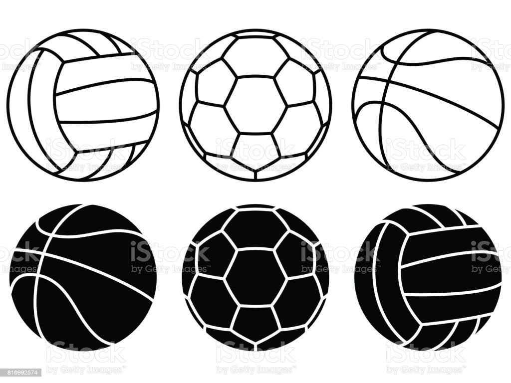 Sport balls set on white background. Vector icons vector art illustration
