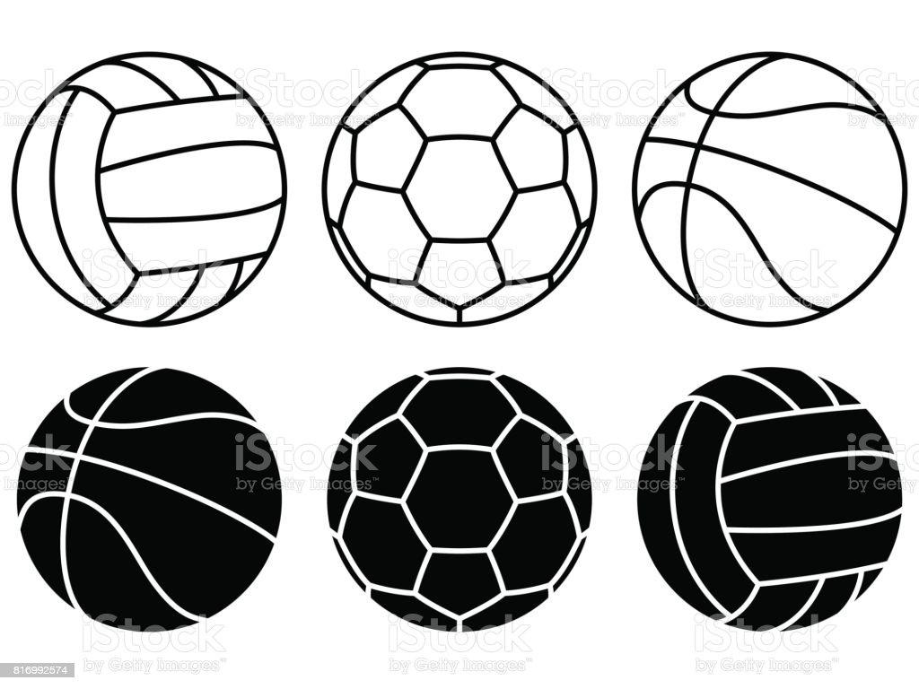 Sport-Kugeln auf weißem Hintergrund gesetzt. Vektor-icons – Vektorgrafik