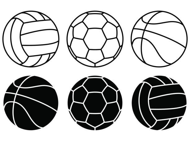 Sport balls set on white background. Vector icons vector art illustration