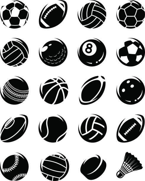 Conjunto de bolas de esporte. Vector - ilustração de arte em vetor