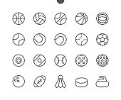 Sport Balls UI Pixel Perfect Well-crafted Vector Thin Line Icons 48x48 Ready for 24x24 Grid for Web Graphics and Apps with Editable Stroke. Simple Minimal Pictogram