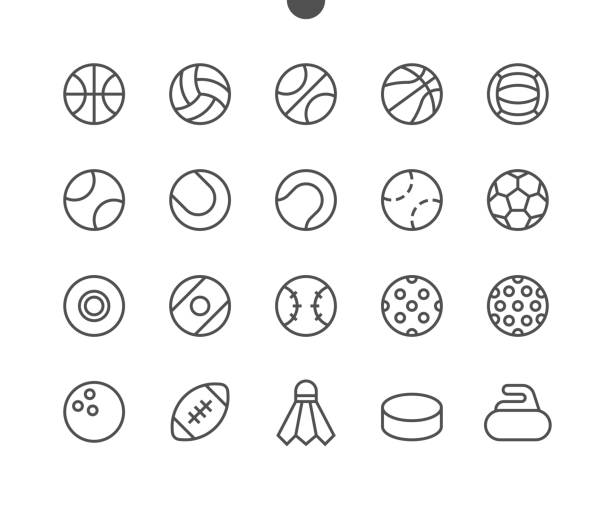 Sport Balls UI Pixel Perfect Well-crafted Vector Thin Line Icons 48x48 Ready for 24x24 Grid for Web Graphics and Apps with Editable Stroke. Simple Minimal Pictogram Sport Balls UI Pixel Perfect Well-crafted Vector Thin Line Icons 48x48 Ready for 24x24 Grid for Web Graphics and Apps with Editable Stroke. Simple Minimal Pictogram Part 1-1 shuttlecock stock illustrations