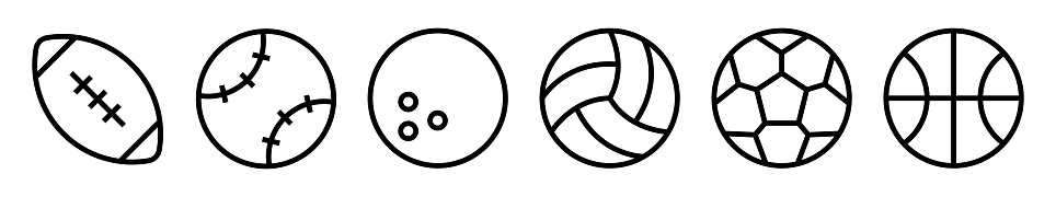 Sport balls vector icons set. Ball simple icon. Balls silhouettes for football, baseball, basketball, tennis, volleyball isolated on white background.