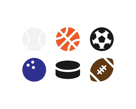 Sport balls vector icons set. Balls of different sports, soccer football basketball volleyball tennis symbols isolated Vector EPS 10