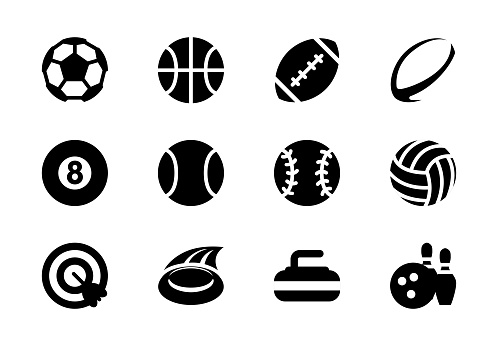 Sport balls vector icons. Soccer, American Football, Rugby, Basketball, Billiard, Tennis, Softball, Volleyball ball, dart game, curling, bowling isolated symbols collection
