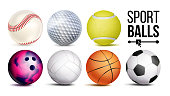 Sport Balls Set Vector. Sport Game, Fitness Symbol. Isolated Illustration