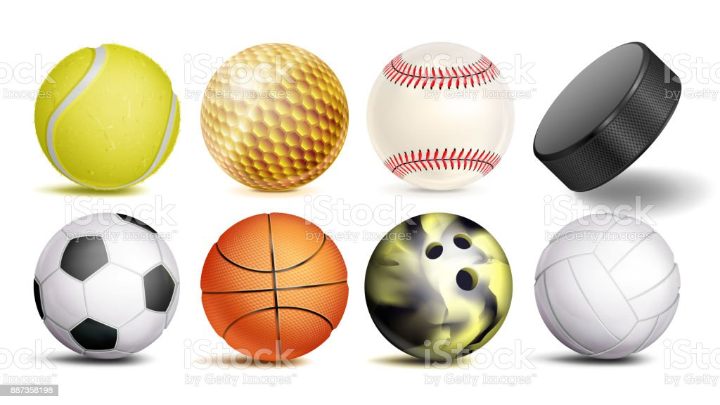 Sport Ball Set Vector. 3D Realistic. Popular Sports Balls Isolated On...