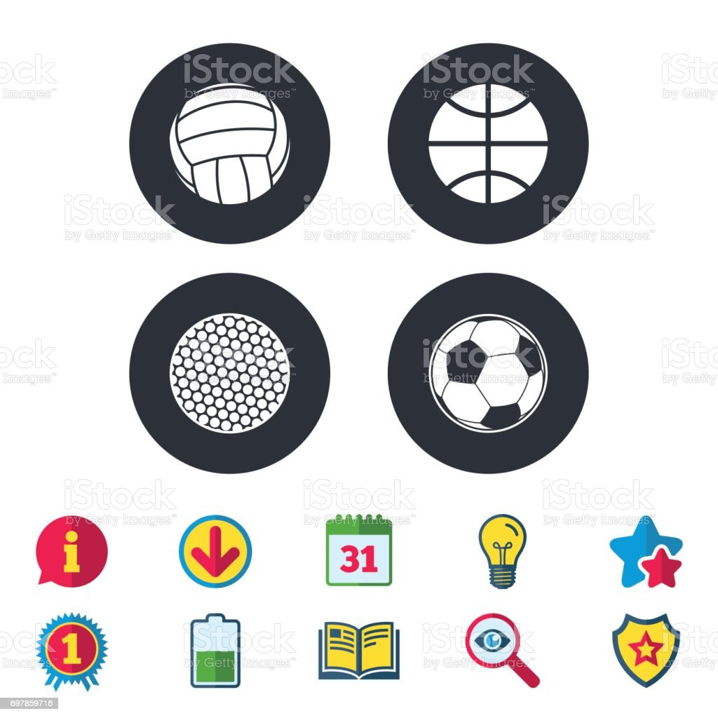 Sport balls icons. Volleyball, Basketball, Soccer and Golf signs....