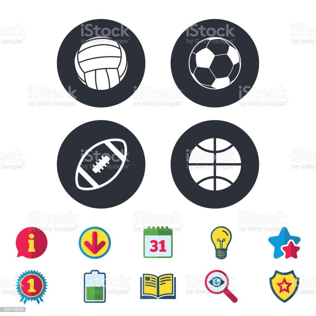 Sport balls. Volleyball, Basketball, Soccer. vector art illustration