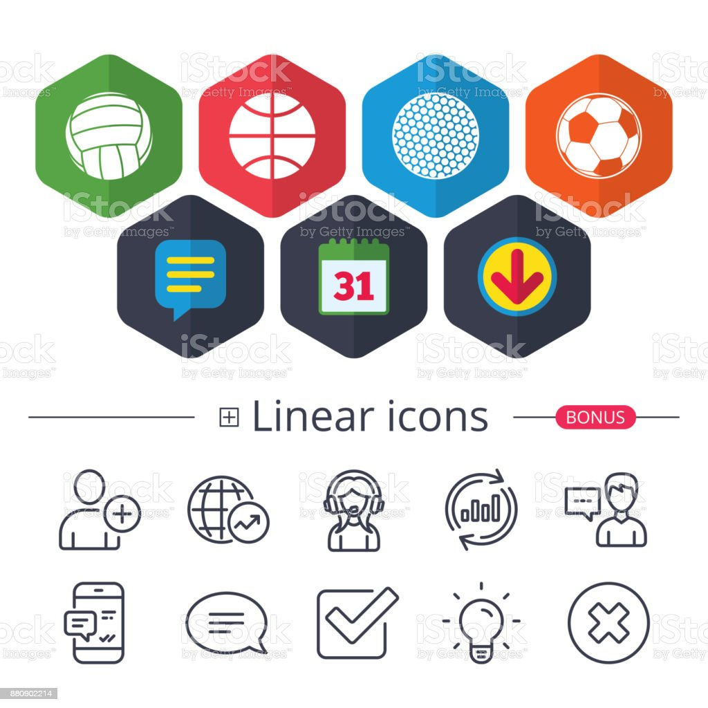 Calendar, Speech bubble and Download signs. Sport balls icons....