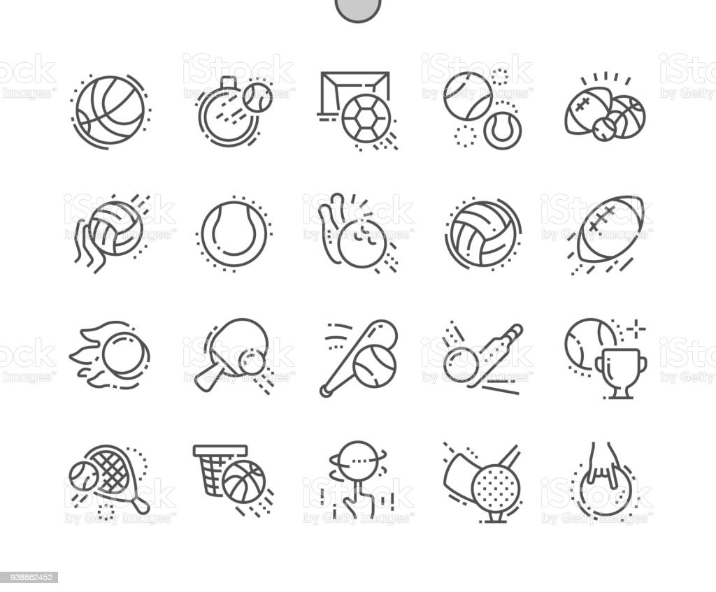 Sport Balls Well-crafted Pixel Perfect Vector Thin Line Icons 30 2x Grid for Web Graphics and Apps. Simple Minimal Pictogram vector art illustration