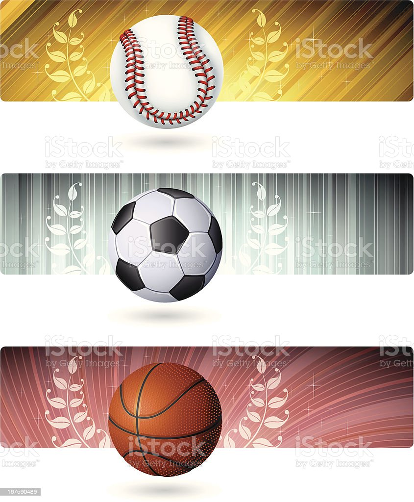 Sport balls with Banners royalty-free stock vector art