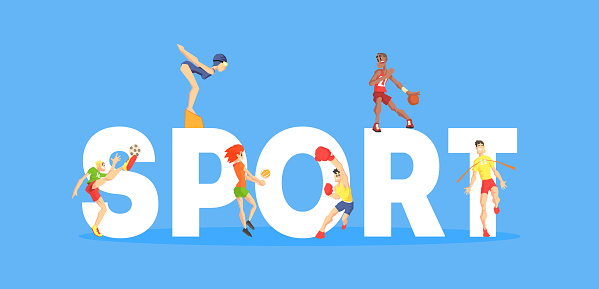 Sport Banner Template, People People Doing Different Kinds of Sports, Design Element Can Be Used for Landing Page, Mobile App, Wallpaper Vector Illustration