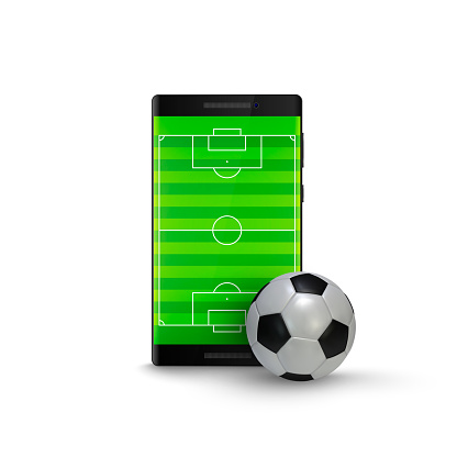 Sport betting online. Mobile phone with football soccer ball and field on the screen. Vector illustration Isolated on white background