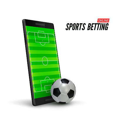 Sport betting online. Mobile phone with soccer field on screen and realistik football ball in front. Vector illustration isolated on white background