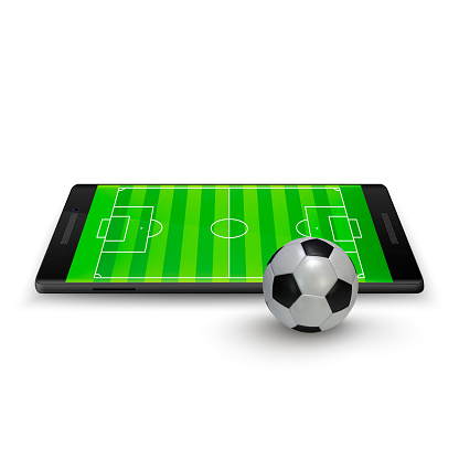 Sport betting online. Soccer onlite. Horizontal mobile phone with football soccer ball and field on the screen. Vector illustration Isolated on white background