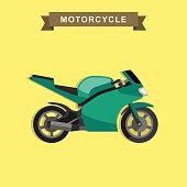 Sport bike flat illustration.