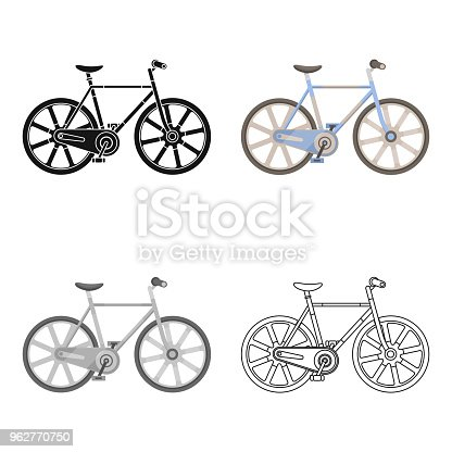 Sport bike racing on the track. Speed bike with reinforced wheels.Different Bicycle single icon in cartoon style vector symbol stock illustration.