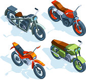 Sport bikes isometric. 3D pictures of various motorcycles. Vector motorbike transport, bike isometry for travel and sport illustration