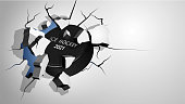 sport black rubber puck for ice hockey punched through the wall and breaks into shards, cracks on wall. Inflicting heavy damage. Vector