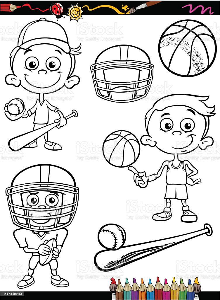 Ilustración de Deporte De Niño De Historieta Página Para Colorear y ...