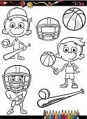 sport boy set cartoon coloring page