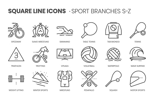 Sport branches related, square line vector icon set