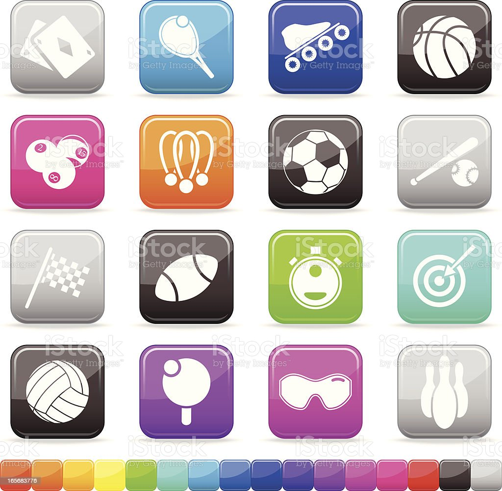 Sport Buttons | Silky Series on 16 Color Alternatives royalty-free stock vector art