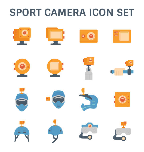 stockillustraties, clipart, cartoons en iconen met sport camera-icoontje - gopro