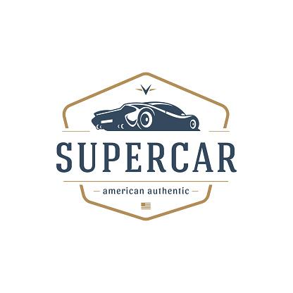 Sport car car symbol template vector design element vintage style