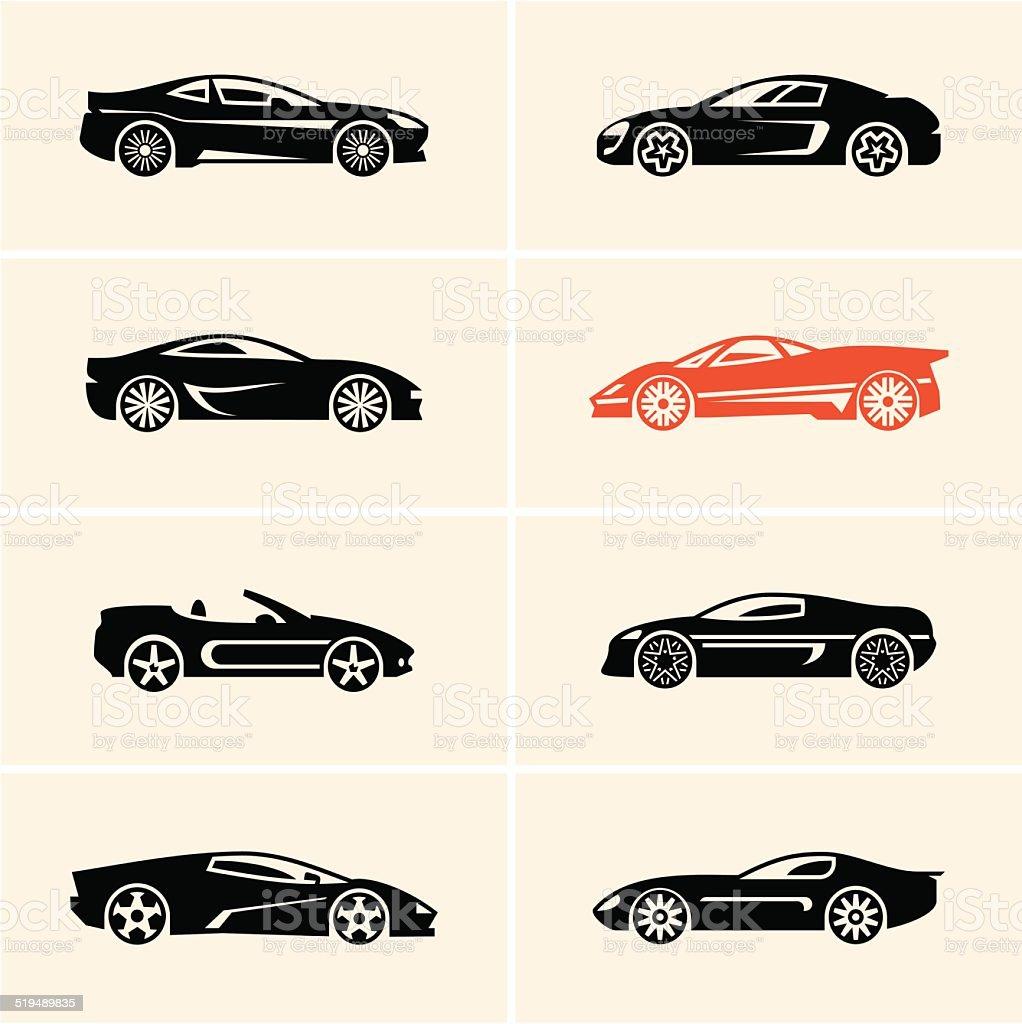 sport car icons vector art illustration