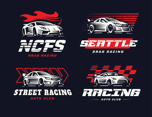 Sport car illustration on dark background. vector art illustration