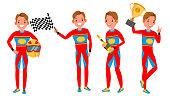 istock Sport Car Racer Young Man Vector. Racing Championship. Red Uniform. Turbo Rally. Man. Modern Driver. Flat Athlete Cartoon Illustration 982566370