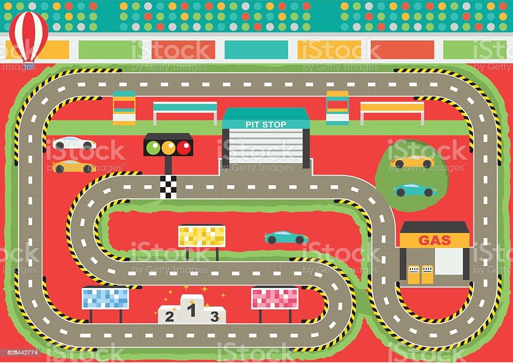Sport Car Racing Track Play Placemat Stock Illustration