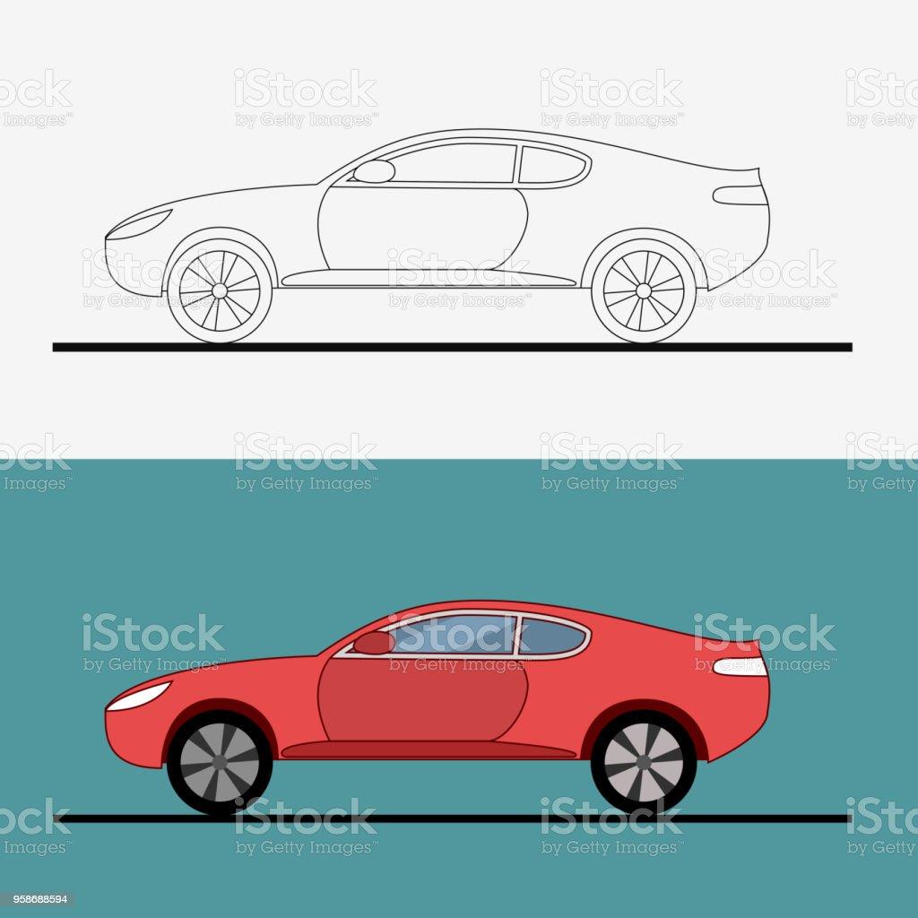 Sport Car Symbol On White Background Drag Racing Car Line Art Flat
