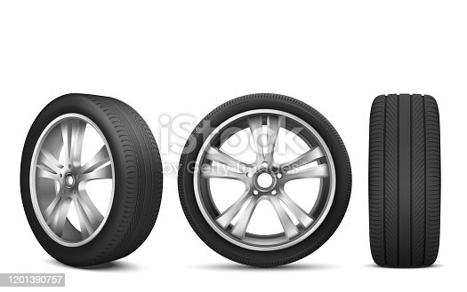 Sport car wheel with japanese steel disk isolated on white background front and side view. Realistic 3d icon of modern black rubber tire for advertising of automobile service, rally