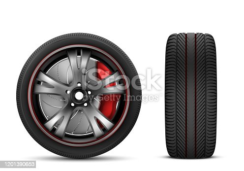 Sport car wheel with red brake gear and japanese steel disk isolated on white background front and side view. Realistic 3d icon of jdm wheel with black rubber tire for automobile