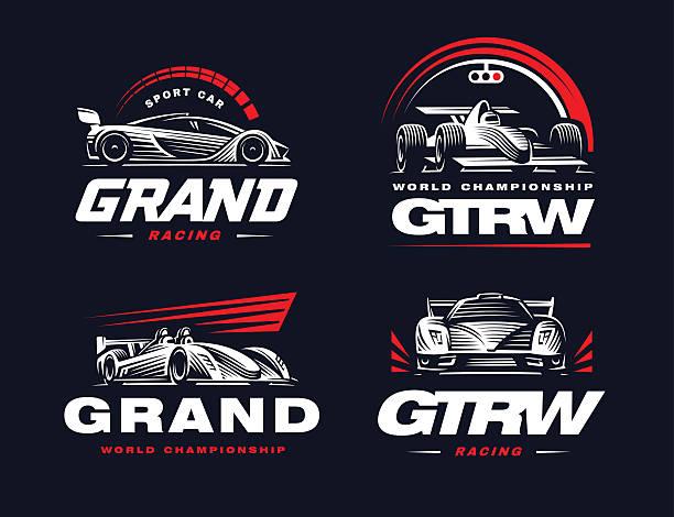 Sport cars illustration on dark background. vector art illustration