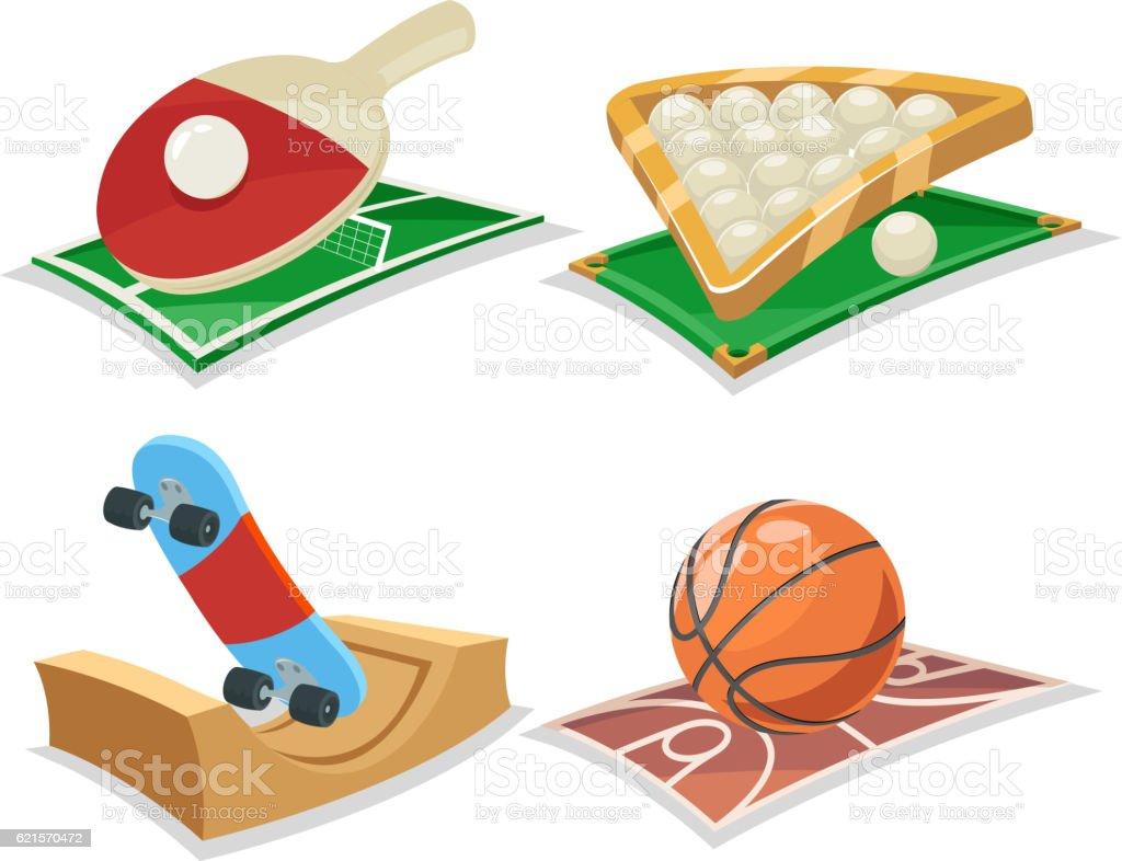 Sport Cartoon Isolated Icons Set Vector Illustration sport cartoon isolated icons set vector illustration – cliparts vectoriels et plus d'images de ballon de basket libre de droits
