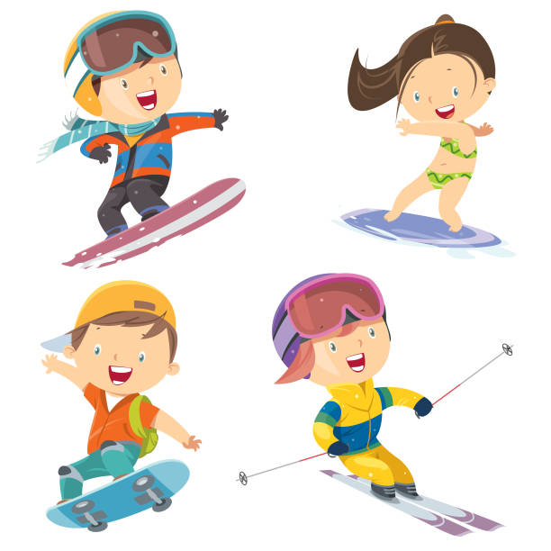 sport children set Vector sport children set seyahat noktaları illustrationsları stock illustrations