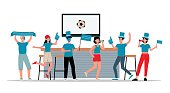 Sport club with football fans supporting their team, flat vector illustration.