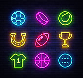 Sport collection icons neon style. Sport set of neon signs. Isolated icons on sports, football, basketball, tennis, baseball. Vector illustration