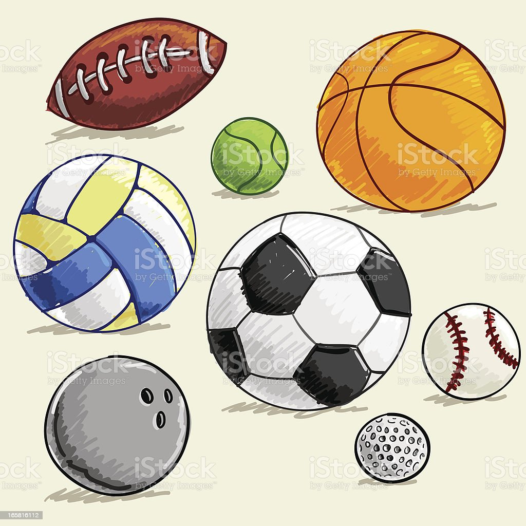 Sport collection in colour sketch royalty-free stock vector art