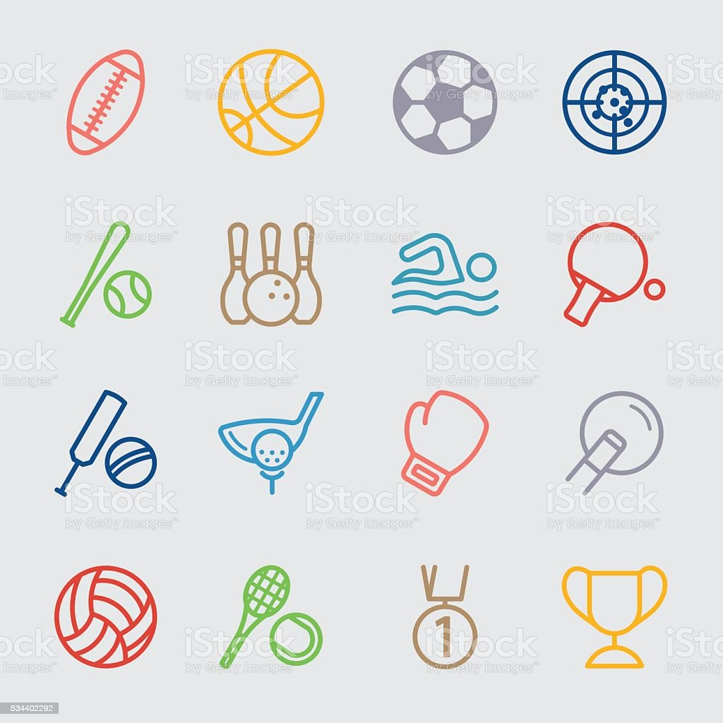 Sport color line icon vector art illustration