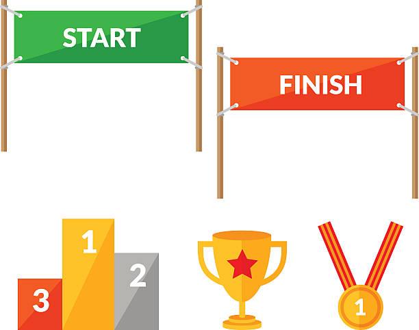 sport wettbewerb flache icon-set mit start-finish - anfang stock-grafiken, -clipart, -cartoons und -symbole