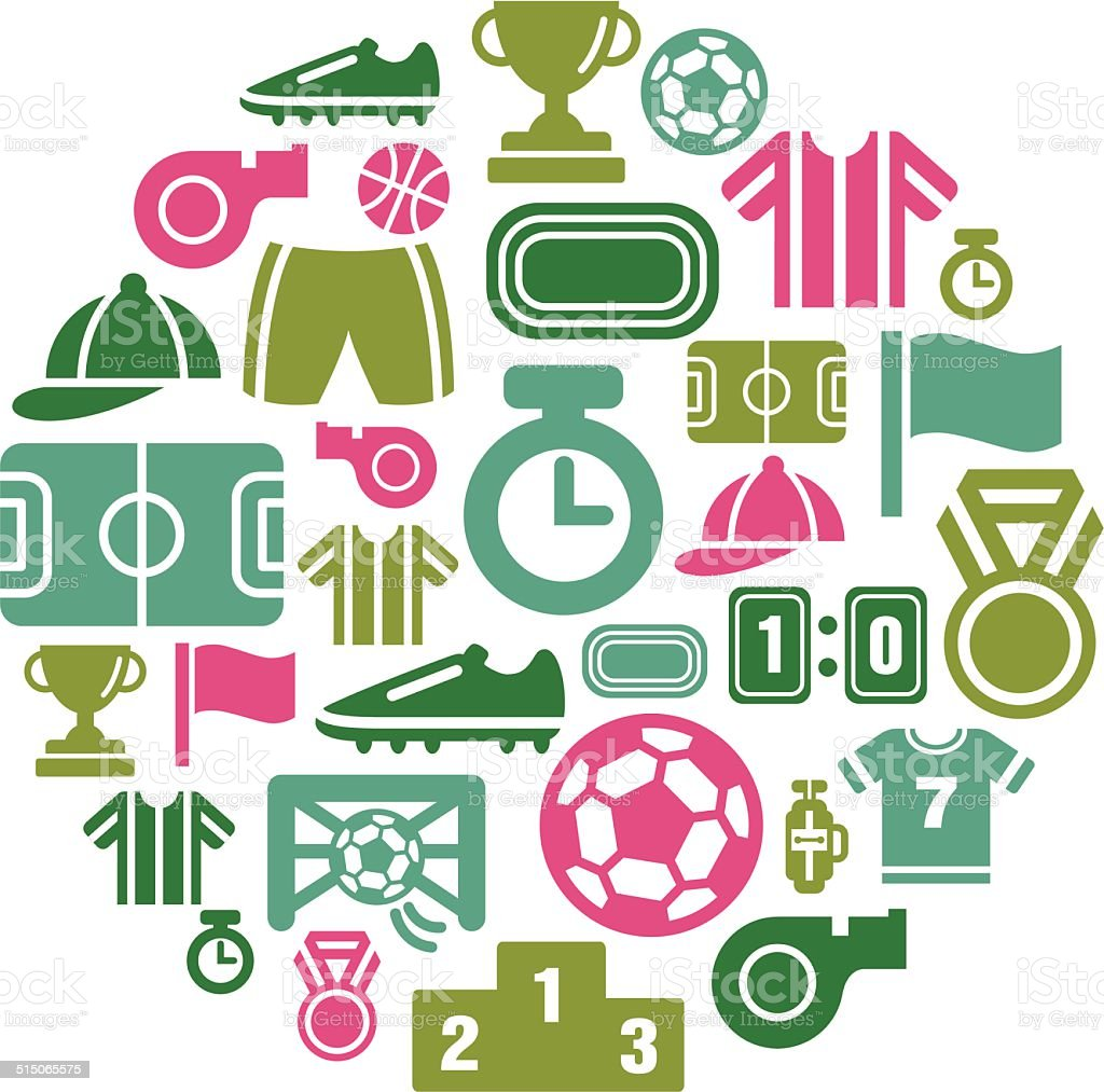 Sport Competition Icons in Circle Shape vector art illustration