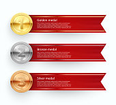 Sport competition medals vector banner templates set. Realistic golden, silver, bronze awards. Championship winner s trophies with olive branch, red ribbon. First, second, third place info text space