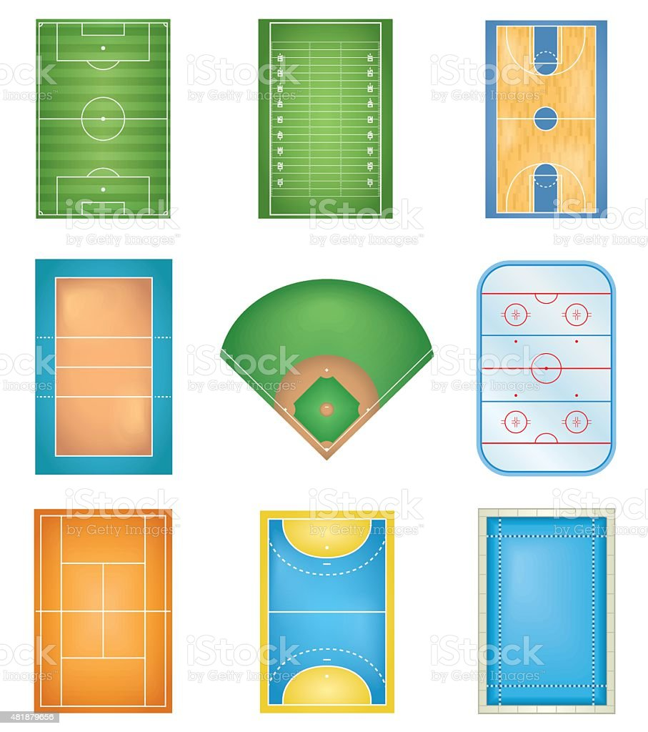 Sport Courts vector art illustration