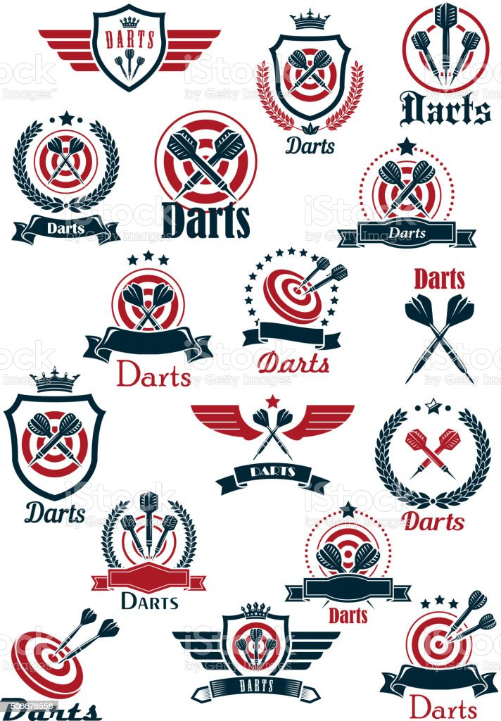 Sport darts game symbols and icons vector art illustration